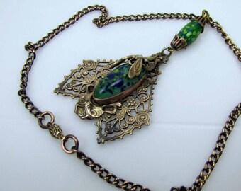 Antique Czech Art Nouveau Huge Pendant Necklace. Signed B F Co. Gold Gilded Brass Green Art Glass Beads. Mythological Bug Bat Mammoth Moth