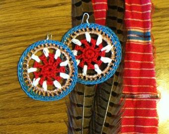 Southwestern extra large mandala earrings / gypsy statement jewelry