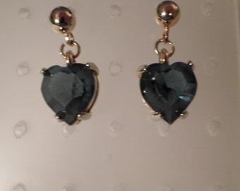 Vintage / SAPPHIRE BLUE HEARTS / Pierced Earrings / Rhinestones & Gold / Wedding / Bridesmaid / Bridal / Prom / Chic / Minis / Accessories