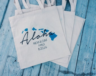 10+ Hawaiian Island Chain Aloha Custom Canvas Wedding Tote Bags - Eco-Friendly Natural Cotton Canvas