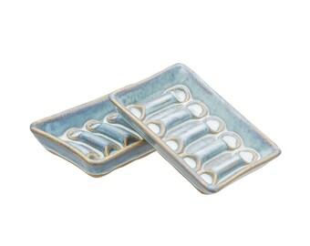Handmade Soap Dish in Sky Glaze.   Soap saver   Soap Rest   Grooved Soap Dish   Functional Bathroom Decor   Soft Powdery Blue Glaze