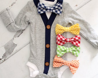 Father's Day Baby Boy Outfit Cardigan Bodysuit & Bow Tie Bodysuit.1st Birthday Outfit, Tie Onesie Outfit, Cake Smash, Coming Home Outfit