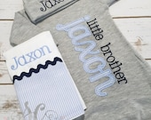 Baby Boy Coming Home Outfit - Little Brother Gown - Little Brother Bodysuit - Personalized Baby Clothes - Newborn Baby Boy Clothes