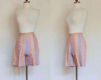 vintage 1950s pastel woven shorts / 50s multicolor patterned high waisted shorts / XS