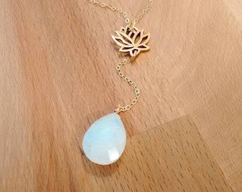 Dainty Gold Lotus Necklace, Rainbow Moonstone Necklace, Gemstone Necklace, Y Necklace, Delicate Necklace, Yoga Inspired Jewelry, Lotus Charm