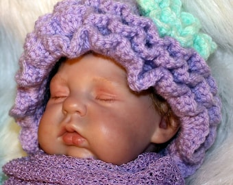 RUFFLE Hat with Flower - 0-3 Months - ANY Colors - Baby Girl Hat - Photo Prop