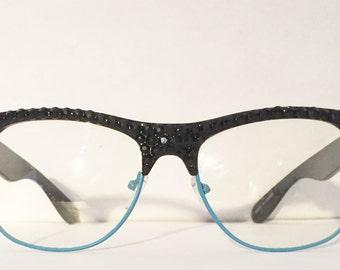 Jet Black Swarovski on Black and Blue Non Prescription Glasses
