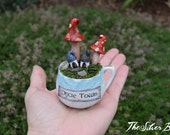 Tiny Teacup Town, Demitasse Pixie Town, Hand Sculpted on Vintage Cup and Saucer