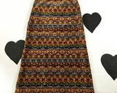 70's psychedelic tapestry maxi skirt 1970's knit long carpet hostess skirt / coloful / hippie / rainbow / chenille / woven / folk / M L