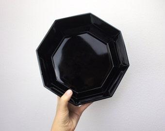 Vintage Arcoroc Black Octime Glass Serving Bowl, Octagonal Black Salad or Fruit Bowl, 1980s Dining Made in France 250057