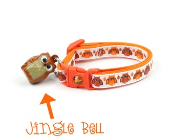 Fall Cat Collar - Autumn Owls  - Small Cat / Kitten Size or Large Size