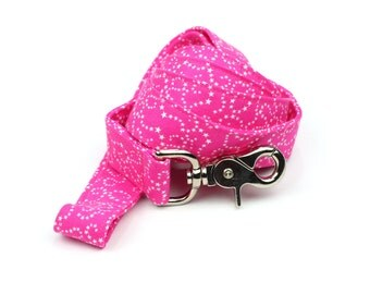 Pink Dog Leash - White Stars on Pink - 5 Feet Long