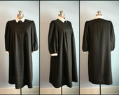 Vintage Maternity Dress 1970s 1980s Black and White Wednesday Addams Dress Cian New York