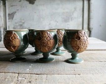 6 Vintage Celtic Design Pottery Goblets / Barware