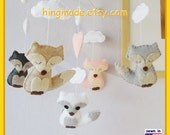 ON SALE !! Baby Mobile, Baby Crib Mobile, Hand Sewn Mobile, Fox Mobile, Forest Mobile, Soft Pink Gray White, Custom Mobile
