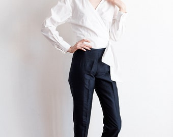 Vintage Navy Silk High Waist Trouser