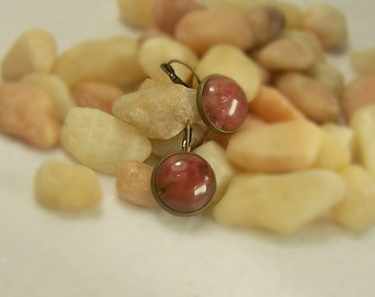 Boho Statement Earrings Leverback Earrings Volcano Cherry Quartz Earrings Gemstone Pierced Earrings Designer Bronze Earrings - 14142