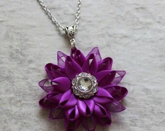 Purple Necklace, Violet Necklace, Purple Flower Necklace, Purple Bridesmaid Jewelry Set, Violet Bridesmaid, Violet Wedding Jewelry Set