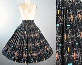 "Vintage 50s Full Circle Skirt / 1950s Novelty ATOMIC PRINT Mid Century Branch Trees Black Cotton Pinup High Waist 27.5"" 28"" Small Medium"
