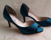 Teal Wedding Shoes Teal Bridal Shoes Teal Bridesmaid Shoes  PICK FROM 100 COLORS Teal Bridesmaid Shoes