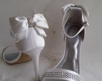 Ivory Wedding Shoes Ivory Bridal Shoes with Bow and Crystals