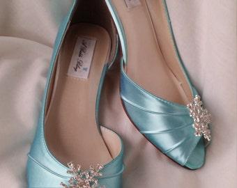 Wedding Shoes Blue Wedding Shoes Sparkling Snowflake Peep Toe Wedding Shoes Blue Bridal Shoes Additional Colors