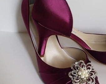 Burgundy Wedding Shoes Burgundy Bridal Shoes with Pearl and Crystal Flower Brooch Design Over 100 Custom Color Choices Wedding Shoes