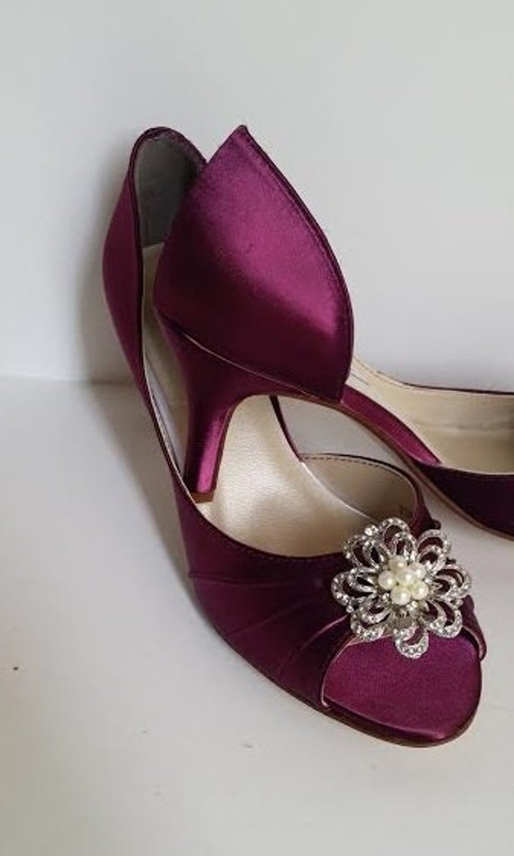 Burgundy Wedding Shoes Burgundy Bridal Shoes With Pearl And