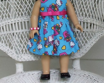Hello Purr-fect Kitty Doll Dress in Blue- Handmade to Fit Dolls like American Girl and Madame Alexander Dolls