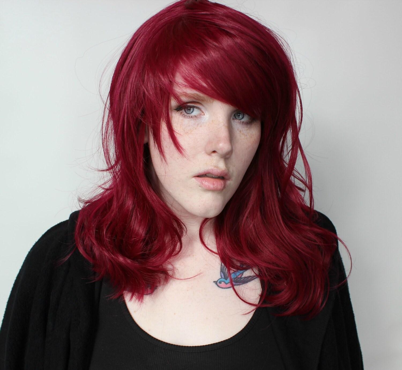 Long Red Wig Auburn Red Wavy wig Dark red scene wig