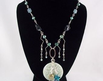 Wireworked Teal Green Pearl Sterling Silver Necklace