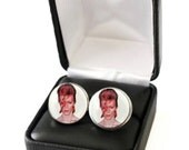 David Bowie Cufflinks, David Bowie Gift, David Bowie Print Cuff Links, Gift for Him with YOUR Favorite David Bowie Picture, Ziggy Stardust