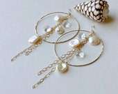 Keshi Pearl Dangle Earrings, Keishi Pearl Hoops, Crystal Pearl Hoop Earrings, Extra Large Gold Hoops
