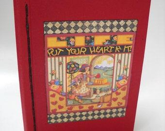 Children's Softcover Notebook, Chain Stitch Binding, Blank Red Notebook, Cute Red Notebook