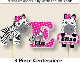 Pink Baby Girl Zebra Baby Shower CENTERPIECE, Zebra Birthday Party Supplies - Package, Invitation, Cake Topper, Favors, Cupcakes, Invite