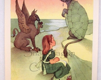 Vintage Alice in Wonderland Illustration, Alice, the Gryphon and the Cow/Turtle, Margorie Torrey, 1960's, Dandelion Library, Frameable Print