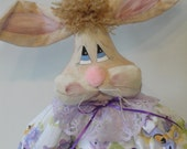 Easter Spring Rabbit Bunny Art Doll in purple dress