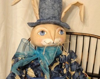 Male Rabbit Bunny Folk art doll