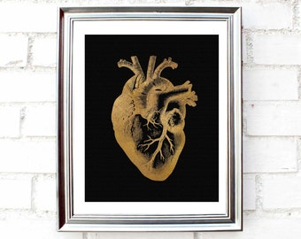 """Printable """"Golden heart"""" decor, gold & black wall art,poster,Instant Download, minimalist print,4 sizes for the price of 1. Anatomical Decor"""