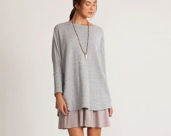 Long Sleeve pullover, gray sweater, loose fit sweatshirt, gray winter top, oversized sweater, Plus size sweater, long sleeves top,
