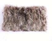 "Genuine raccoon fur Pillow 12"" x 20"" rectangular real fur genuine fur white cream ivory lumbar"