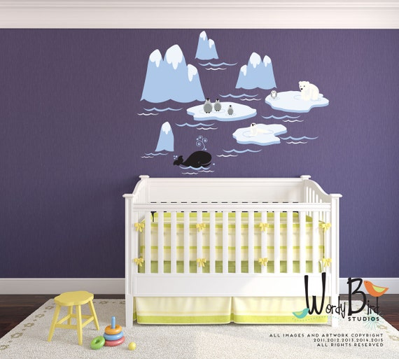 Polar bear nursery Reusable wall decals - Extra Large kids wall decals Icebergs and arctic animals penguins owl whale