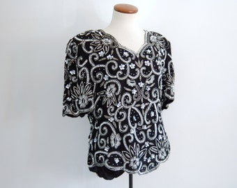 black sequined blouse - 80s vintage silk silver floral disco cocktail party beaded trophy shirt scalloped slouchy draped tent deadstock