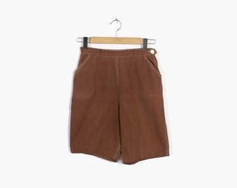 Vintage 60s SHORTS / Early 1960s High Waisted BROWN Pin-Up Rockabilly Cocoa Cotton Shorts XS - S