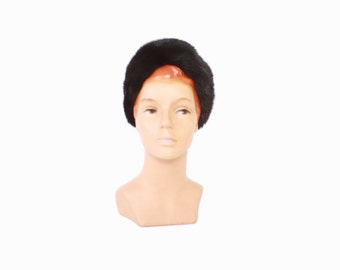 RESERVED // Vintage 60s MINK HAT / 1960s Glossy Black Ranch Mink Turban Style Winter Hat