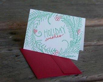 6 pack Modern Woodland Wreath holiday card, letterpress printed, eco friendly