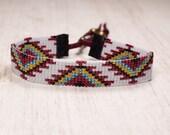 Tribal Seed Bead Bracelet - Bead Loom Bracelet - Native American Womens Bracelet - Adjustable Bracelet