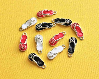 5 Flip Flop Charms Silver Plated Enamel Assorted Colors- E99