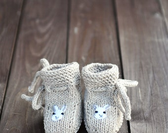 Newborn Baby Girls Boys Knitted wool Socks Baby Stay-On Lace up Booties neutral grey brown felt Bunny Rabbit woodland gift 0-3-6-9-12 months