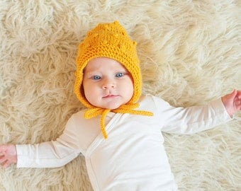 Newborn Baby girl boy Bonnet, hand knitted wool hat yellow mustard with popcorn knit bobbles baby shower gift 0-3-6-9-12-18-24 months, 2T